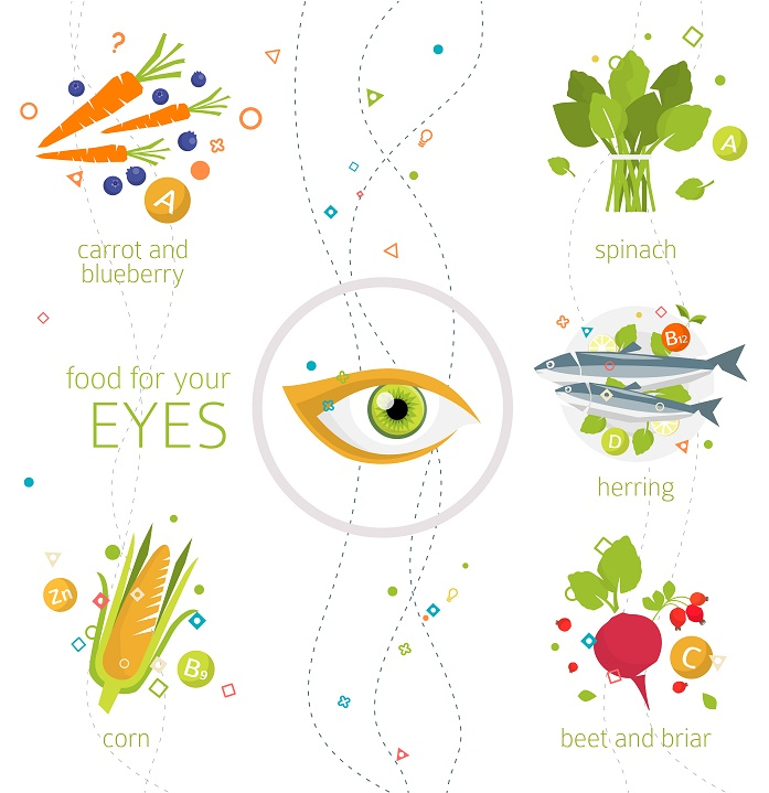 Concept of food and vitamins, which are healthy for your eyes / vector illustration / flat style